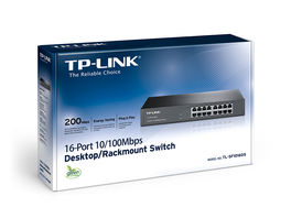 TP-LINK SWITCH DE RED - 16 PUERTOS - 10/100 , SOBREMESA, MONTAJE EN RACK 19